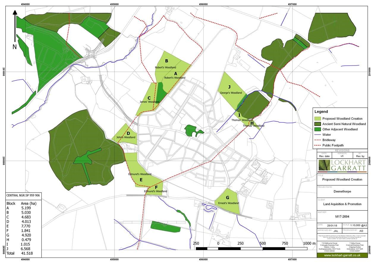 Deerthorpe Airfield Woodland Creation Map