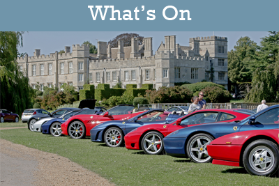 A row of vintage and new Ferraris lined up with Deene Prk house in the background